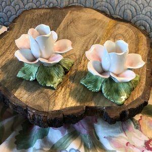 VINTAGE Fine Porcelain Taper Candle DOGWOOD Italy